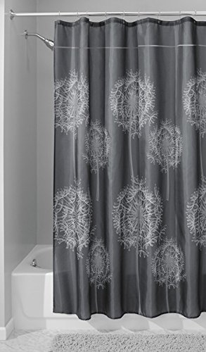 MDesign Sketched Dandelion Flower Fabric Shower Curtain