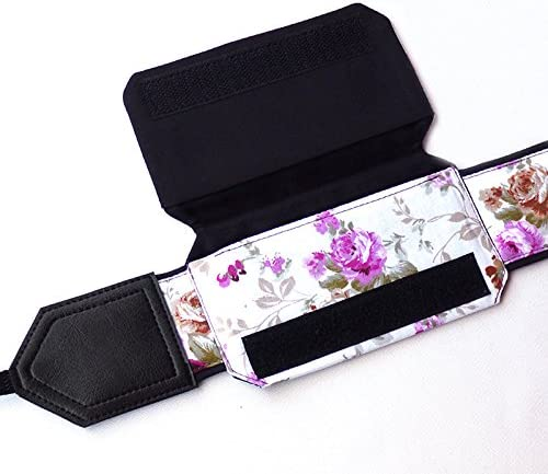 Black and White DSLR//SLR Camera Strap Light Weight and Well Padded Camera Strap Durable Code 00230 Purple Roses Camera Strap with Lens Pocket Flower Camera Strap