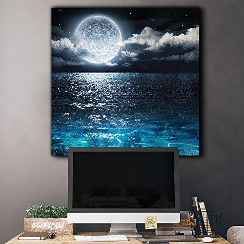 Moon Illuminating The Clear Ocean Blue Wall Decor