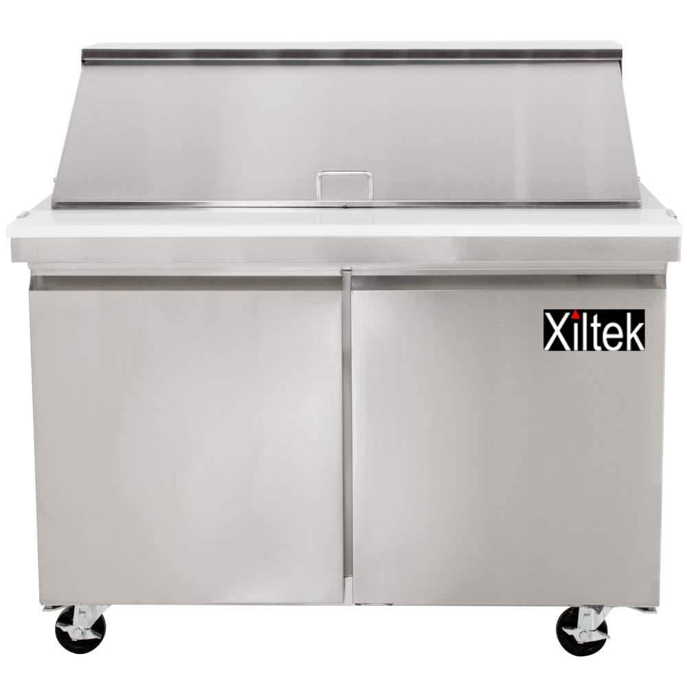 New Xiltek 48″ Two Door Mega Top Sandwich Salad Prep Refrigerator with 18 Pans Included