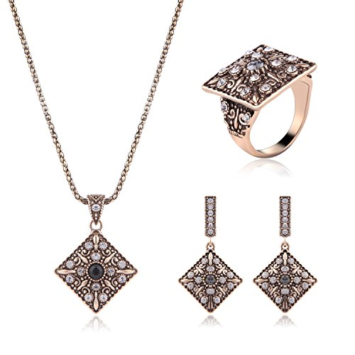 AMADER Necklace Earring Ring Fashion Jewelry Sets Boxed Gold Plated 3122