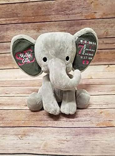 Amazon Com Personalized Baby Stat Elephant Plush Handmade