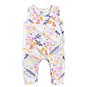 Happy kido Newborn Baby Girls Flower Animal Print Romper Bodysuit Outfits Spring Summer Tops (White 2, 0-6 Months)