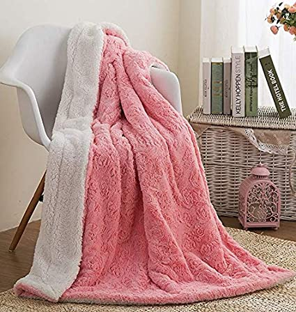 Amazon DaDa Bedding Pink Throw Blanket Cuddly Fluffy Luxury Enchanting Blush Pink Throw Blanket