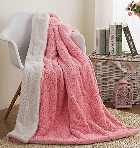 DaDa Bedding Luxury Throw Blanket - Lap Fluffy Cuddly Rose Buds Soft Faux Fur Sherpa - Warm Plush Textured for Lap or Sofa - Bright Vibrant Blushing Rosey Baby Pink & White - 50