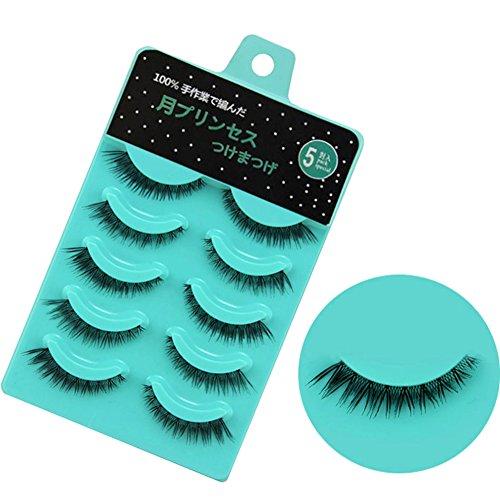 Scala 5 pairs/set 3D False Eyelashes Messy Cross Thick Natural Fake Eye Lashes Professional Makeup Tips Short False Eye Lashes (L-12)