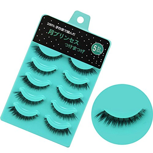 Scala 5 pairs/set 3D False Eyelashes Messy Cross Thick Natural Fake Eye Lashes Professional Makeup Tips Short False Eye Lashes (L-12) ()