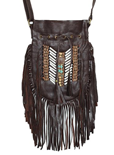 N47M- borsa in pelle marrone scuro marrone scuro, borsa in stile americano. Borsa Crossbody. Boho Bag