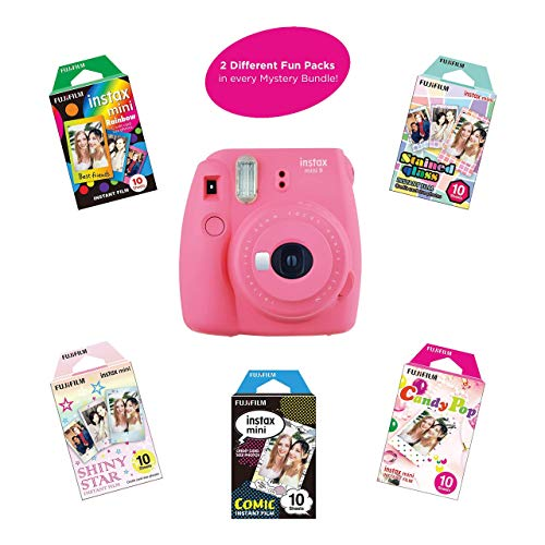 Fujifilm Instax Mini 9 Instant Camera | Includes 2 Rainbow Film Packs (20 Photo Sheets Total) | Auto Lens & Light Exposure Setting | Certified Refurbished (Flamingo Pink)
