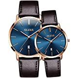 33509e84c839 OLEVS His and Hers Couple Watches Fashion Minimalist Ultra Thin Quartz  Analog Wrist Watches and Luxury
