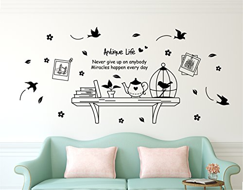 Amazon Brand – Solimo Wall Sticker for Living Room (Wall Shelf , ideal size on wall , 175 cm X 150 cm)