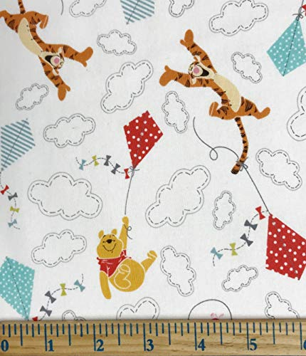 1 Yard - Winnie The Pooh Tigger & Piglet Kite Flying on White Cotton Fabric - Officially Licensed (Great for Quilting, Sewing, Craft Projects, Throw Blankets & More) 1 Yard X 44