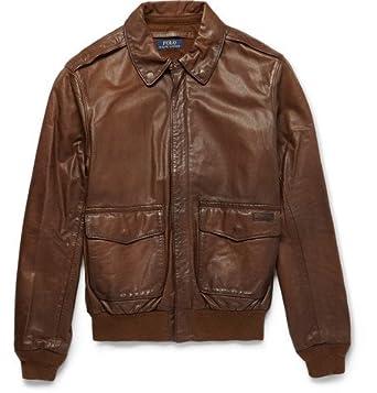 efdd98176 Ralph Lauren Men's Farrington Leather Bomber Jacket (LARGE): Amazon ...