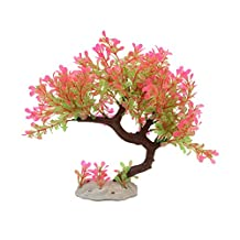 uxcell® Pink Green Plastic Simulation Tree Plant Lawn Decoration for Aquarium Fish Tank