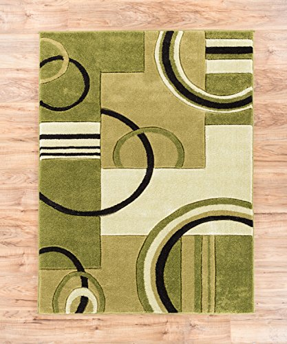 Echo Shapes & Circles Light Green Modern Geometric Comfy Casual Hand Carved Runner Rug 2x7 ( 2' x 7' ) Easy Clean Stain Fade Resistant Shed Free Abstract Contemporary Thick Soft Plush Living (Fade Green)