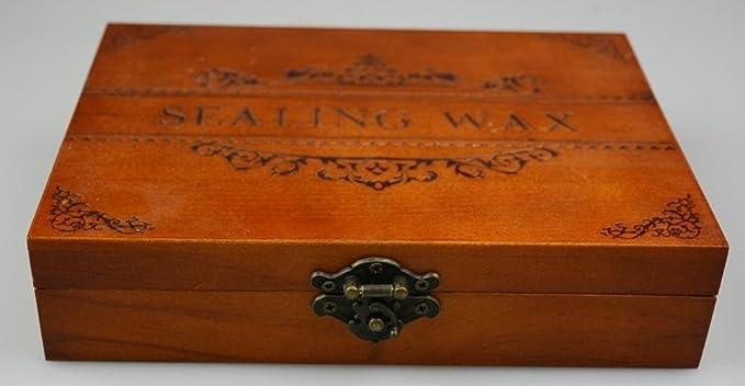 MNYR - Juego de 12 sellos de cera para sellar sellos de madera de oro rosa con mango de pavo real para fusionar velas de boda, invitación, tarjeta de regalo ...