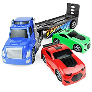 "Boley Giant 26"" Big Rig Truck Hauler Trailer with 2 Race Cars - Great Kids Truck Carrier Toy for Boys and Girls Who Love Vehicle Sets - Perfect As A Birthday Gift Party, Party Favor, and More!"