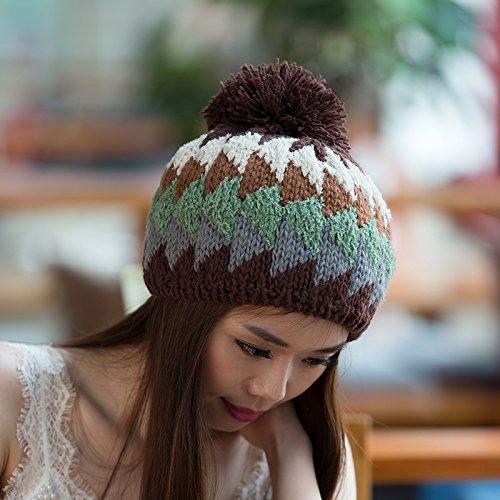 KHAKI versión Simple Orange Coreana para Maozi Sombrero Sombreros Aire de al Invierno Punto Libre Ventilador Salvaje de señoras Colores Lana Mezclados de x1dFA