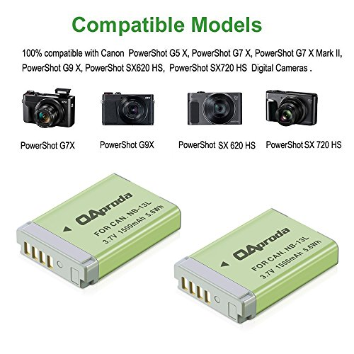 OAproda NB-13L Fully Decoded Battery (2 Pack) and USB Charger for Canon PowerShot SX740 HS, SX620 HS,SX720 HS, SX730 G7 X, G7 X Mark II, G9X Mark II, G1 X Mark III, G5 X, G9 X Digital Camera