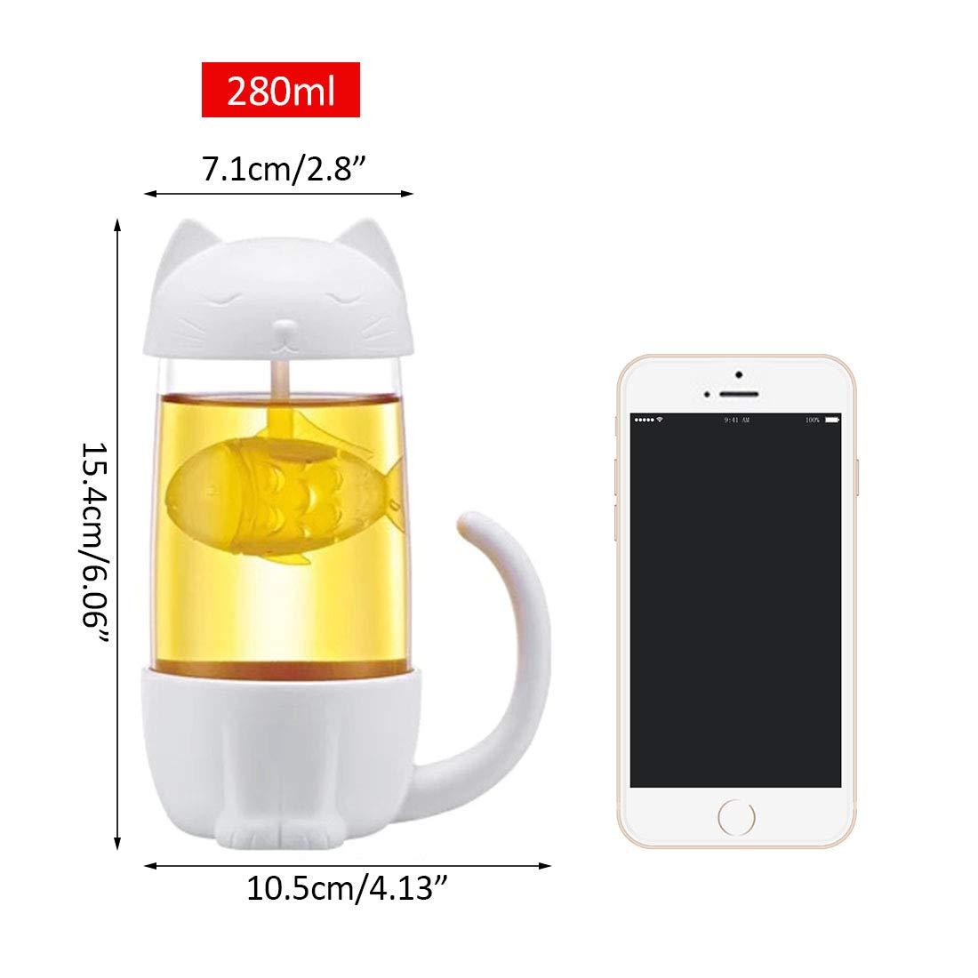 Pinji1 280ML Tasse /à Th/é Portable avec Filtre Infuseur /à Th/é R/ésistant /à la Chaleur Bouteille deau Reutilisable en Verre et PP avec Couvercle Id/éal Bureau Maison Forme Chat Blanc #1