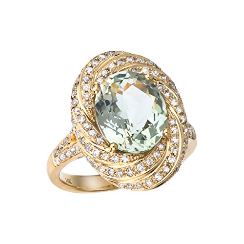 3.56 Carat ctw 14k Gold Round Green Amethyst Solitaire & Diamond Halo Swirl Cocktail Anniversary Ring - Yellow-gold, Size 4 ()