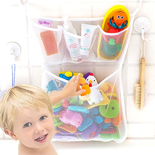 """Bath Toy Organizer -The Original Tub Cubby - Large 14x20"""" Quick Dry Bathtub Mesh Net - Massive Baby Toy Storage Bin + 3 Soap Pockets - New 3M Stickers and 4 Suction Hooks"""