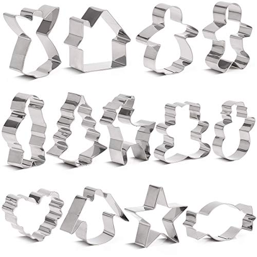 Lumon Cookie Cutters - Holiday Stampers Set Include Gingerbread Boy, Snow Tree, Angel, Star, Christmas Tree,Reindeer,Candy,Santa Claus,House,Q Bear,Snowman Stainless Steel Non-Stick DIY Biscuit Mold