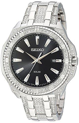 Seiko Crystal Wrist Watch - Seiko Men's Crystal Solar Japanese-Quartz Watch with Stainless-Steel Strap, Silver, 21 (Model: SNE457)