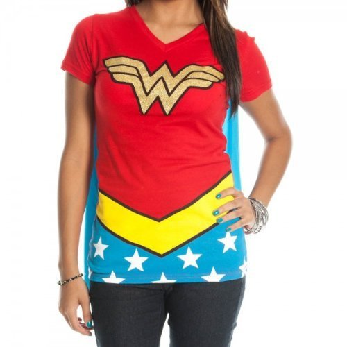 Juniors T-Shirt - Wonder Woman - V-Neck Costume Tee with Cape,Red,Medium ()
