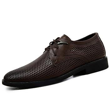 YJiaJu Oxfords de Negocios, Mocasines Transpirables, Zapatos Perforados con Cordones y Punta Redonda para Hombre (Color : Marron Oscuro, tamaño : 45 EU): ...