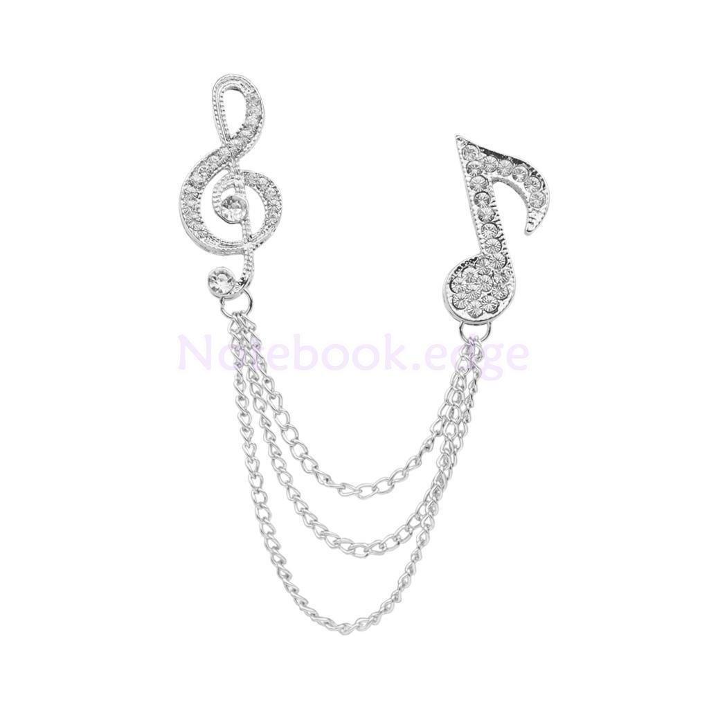 Fashion Music Note Coat Shirt Collar Chain Brooch Pin Clear Crystal Silver