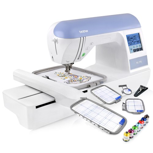 Brother PE770 (PE 770) Embroidery Machine w/USB Flash Port and Elipse 4-Hoop Embroidery Package w/Embroidery Thread and Scissors (Package Machine Embroidery Designs)