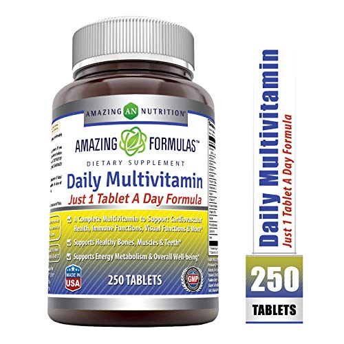 Amazing Formulas Daily Multivitamin Tablets (Non-GMO) – Just 1 Tablets A Day Formula A Complete Multivitamin to Support Cardiovascular Health, Immune Functions, Visual Functions & More* (250 Count)