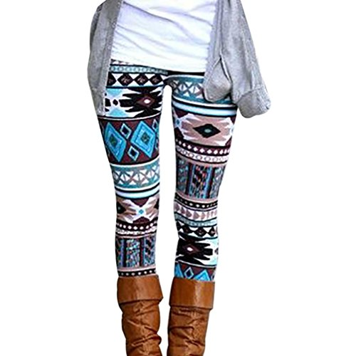 GBSELL New Women Lady Pretty Printed Stretchy Pants Leggings Sport Casual (A, S)