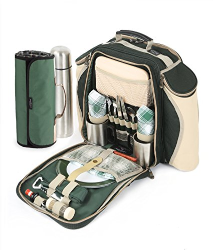 Greenfield Collection Super Deluxe Forest Green Picnic Backpack Hamper for Two People with Matching Picnic Blanket