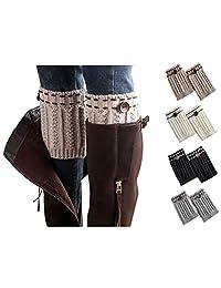 Xugq66 4 Pack Women Winter Crochet Knitted Short Boot Cuffs Short Leg Warmers