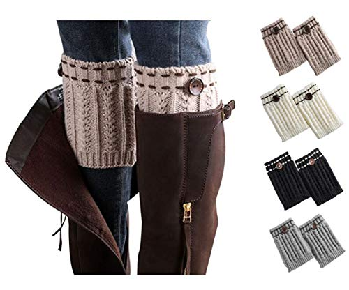 Xugq66 4 Pack Women Winter Crochet Knitted Boot Cuffs Socks Short Leg Warmers (4 Pair-02) -