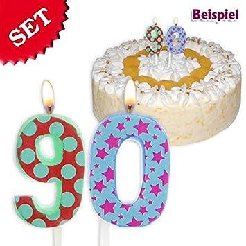 geburtstagsfee Velas Cumpleaños número 90, 2,5 cm: Amazon.es ...