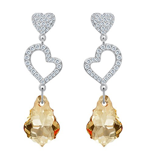 - EVER FAITH 925 Sterling Silver CZ Open Heart Baroque Dangle Earrings Champagne Color Adorned with Swarovski crystals