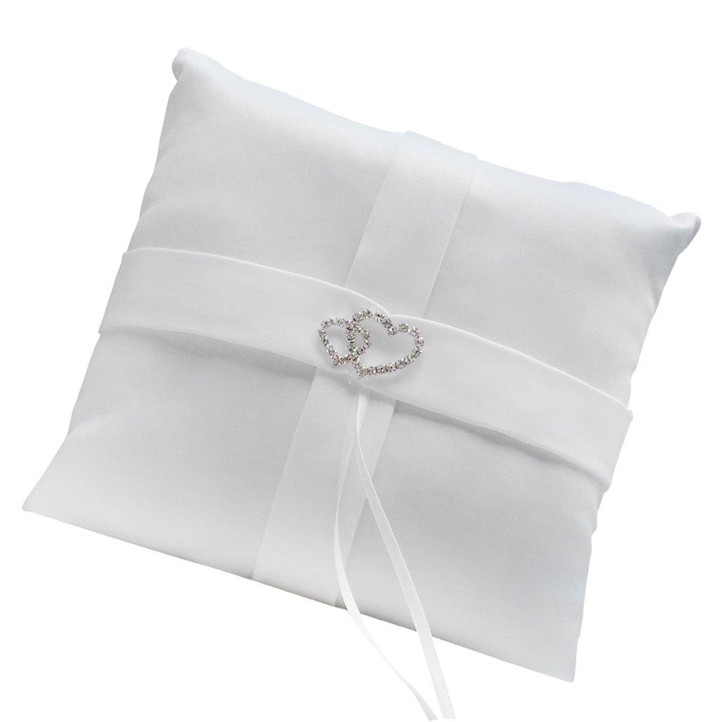 Coussin Oreiller Porteur de l'Anneau de Mariage avec Double Cœurs de Strass 20cm x 20cm - Blanc Générique AMZN-PECE-Chain