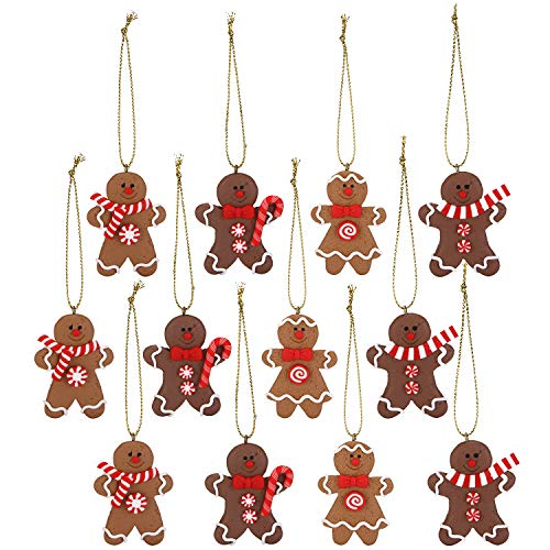 Sea Team Assorted Clay Figurine Ornaments Traditional Gingerbread Man Doll Gingerman Hanging Charms Christmas Tree Ornament Holiday Decorations, Set of 12 - Do Yourself Christmas Decoration