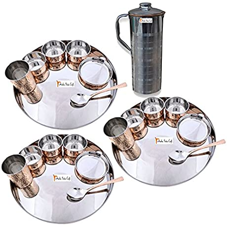 Prisha India Craft Set Of 3 Traditional Stainless Steel Copper Dinner Set Of Thali Plate Bowls Glass And Spoon Dia 13 With 1 Stainless Steel Copper Pitcher Jug Christmas Gift