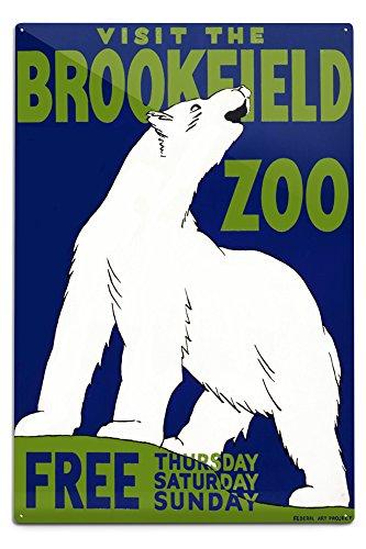 Lantern Press Brookfield, Illinois - Brookfield Zoo Poster - Polar Bear - Vintage Advertisement (12x18 Aluminum Wall Sign, Wall Decor Ready to Hang) -