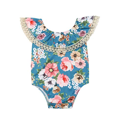 Newborn Infant Baby Girl Clothes Lace Halter Backless Jumpsuit Romper Bodysuit Sunsuit Outfits Set (Twins Littile Sister Big Sister Lace Ruffle Bodysuit Romper-Blue, 18-24 Months)