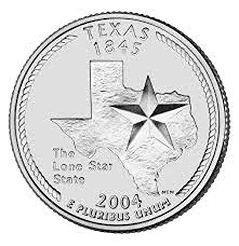 Water US 2004 Texas State Quarter BU Uncirculated Coin Leak Proof Black PU Leather Wrapped Stainless Steel 8 Oz Hip Flask Wine etc. Liquor
