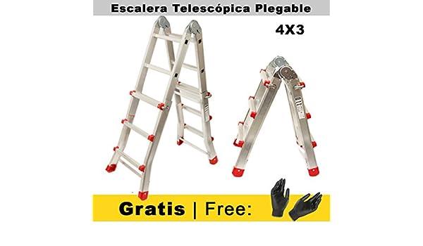 Nawa Escalera Telescópica 4x3 de Tijera Plegable Profesional de Aluminio. Articulada en Tijera. Carga Máxima 150 kg. Hecho en Europa: Amazon.es: Bricolaje y herramientas