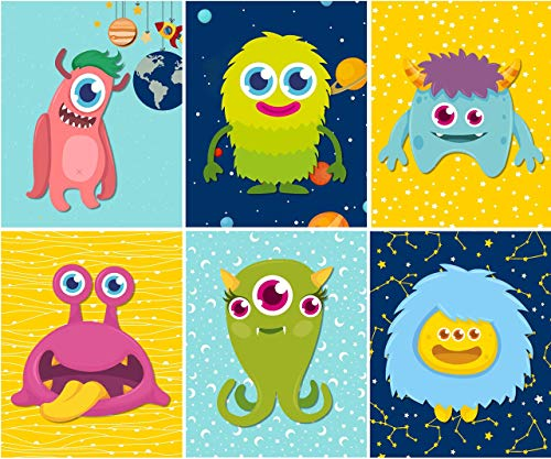 Outer Space Wall Decor - Kids Room Nursery Art Prints - (Set of 6) - Unframed - 8x10 - Silly Aliens and Monsters]()