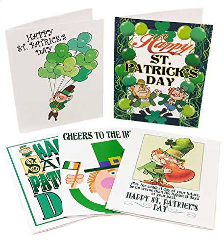 St Patrick's Day Assorted Card Pack - 15 St Patrick's Day Cards & Envelopes - Boxed Set