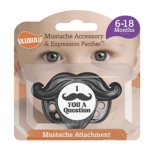 Ulubulu Mustache Accessory and Expression Pacifier, Black, 6-18 Months ()