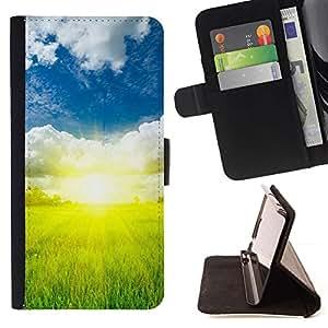 For Samsung Galaxy S6 EDGE (NOT S6) Case , Naturaleza Hermosa Forrest Verde 73- la tarjeta de Crédito Slots PU Funda de cuero Monedero caso cubierta de piel
